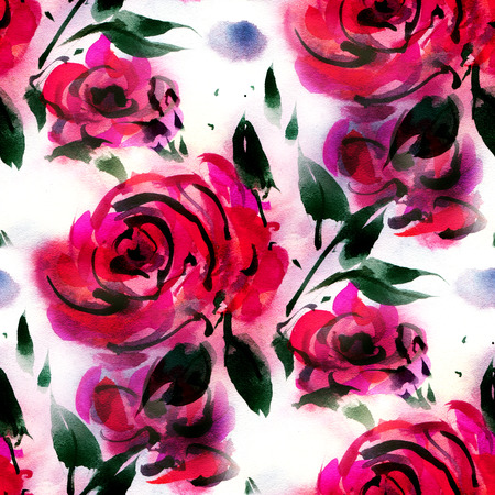 seamless pattern: Seamless pattern with  red watercolor roses on a white background.  Hand-drawn illustration. Stock Photo