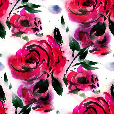patrones de flores: sin patrón, con rosas de la acuarela de color rojo sobre un fondo blanco. Dibujado a mano ilustración. Foto de archivo
