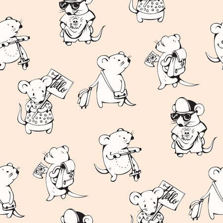 myszy: Seamless pattern - funny cartoon mice. Hand-drawn illustration. Vector. Ilustracja