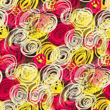 graphic pastel: Abstract seamless pattern with circles of scribbles. Oil pastels drawing.
