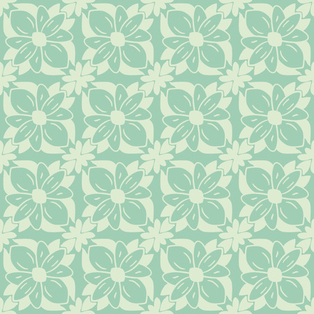 simple flower: Seamless pattern - simple flower background  in green tones.