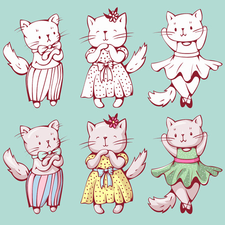 babyish: Illustration of funny cartoon kittens. Hand-drawn illustration. Vector set.