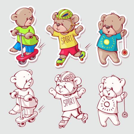 Wektor zestaw zabawnych misiów kreskówek, wyizolowany z tła. Wersja monochromatyczna i kolorowa. Ilustracja rysowane ręcznie.