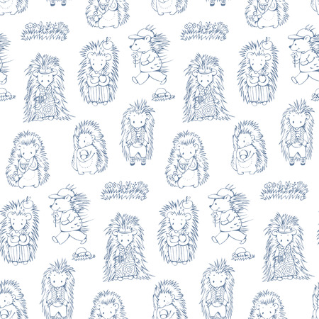 prickly fruit: Black and white seamless pattern with cartoon hedgehogs. Hand-drawn illustration. Vector.