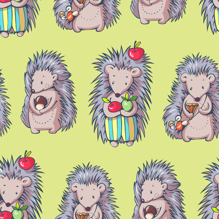 prickly fruit: Seamless pattern with cartoon hedgehogs. Hand-drawn illustration. Vector.