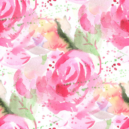 repeat texture: Seamless pattern with watercolor flowers. Vector illustration.