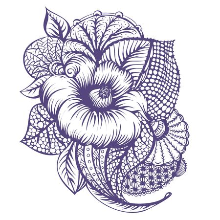 inking: Black and white illustration with flowers in doodle style. Vintage style. Vector illustration.