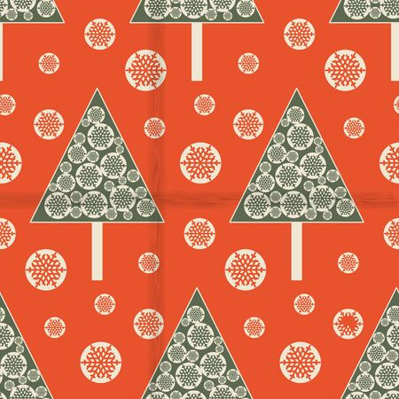 beauty of nature: Seamless pattern with Christmas trees and snowflakes on red old paper. Christmas background. Vector illustration.