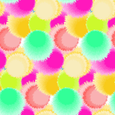 fluffy: Seamless pattern with bright fluffy circles. Vector illustration