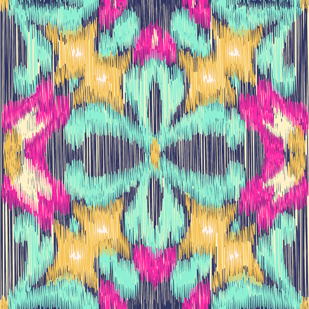 gobelin tapestry: Seamless Ikat Pattern. Abstract background for textile design, wallpaper, surface textures, pattern fills,  wrapping paper. Illustration