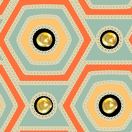 paillette: Seamless pattern - decorative  embroidery with  geometrical drawing and with gold sequins. Vector illustration.