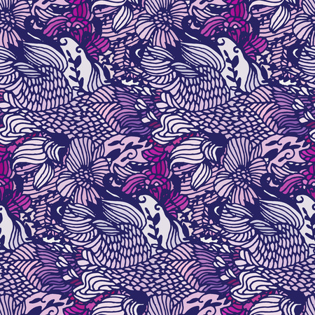 mauve: Seamless pattern  with Flowers mauve color.  Hand drawn doodle background. Vector illustration.