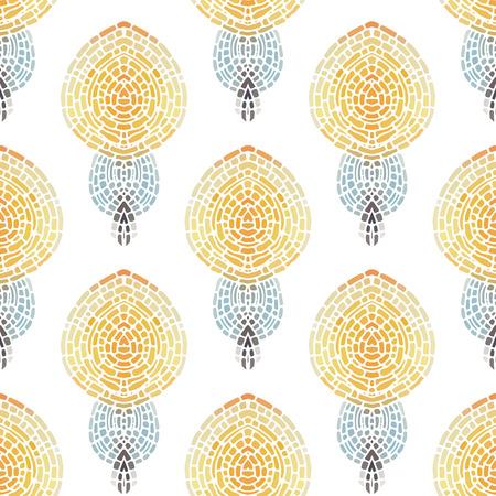Naadloos patroon met een simpel symmetrisch patroon op een witte achtergrond. Mosaic achtergrond in pastel tinten. Vector illustratie.