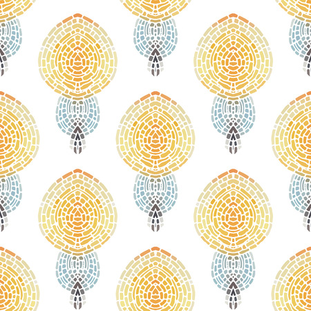 Seamless pattern with a simple symmetrical pattern on a white background. Mosaic background in pastel tones.  Vector illustration.