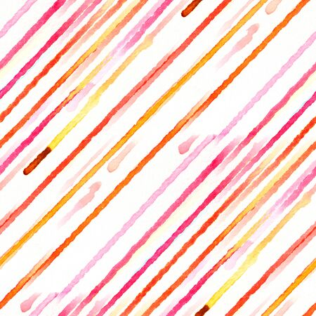 diagonal stripes: Seamless pattern with red and pink diagonal stripes. Watercolor illustration. Stock Photo
