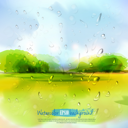 blue green landscape: Spring landscape with rain drops. The illustration contains transparency and effects.