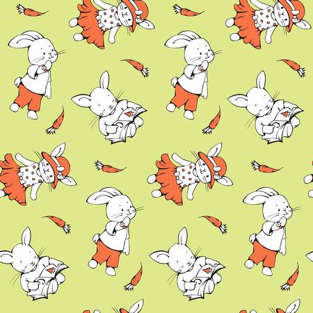 zanahoria caricatura: Patrón sin fisuras con los conejitos divertidos dibujos animados con zanahorias. Dibujado a mano ilustración. Vector. Vectores