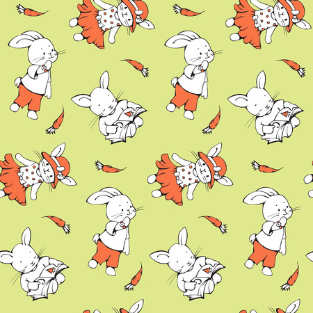 cartoon carrot: Seamless pattern with funny cartoon Bunnies with carrots. Hand-drawn illustration. Vector.