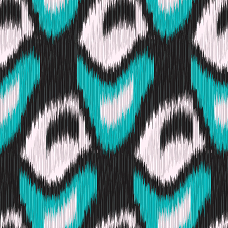 gobelin: Seamless Ikat Pattern with black and green geometrical drawing. Abstract background for textile design, wallpaper, surface textures, pattern fills,  wrapping paper.