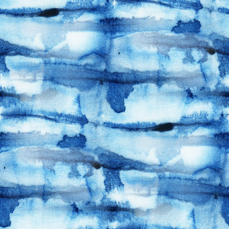 dyeing: Beautiful seamless tie-dye pattern of indigo color on white silk. Batik-hand painting fabrics - nodular batik. Shibori dyeing. Stock Photo