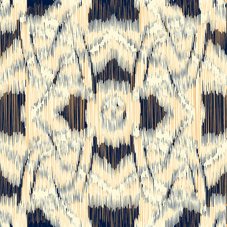 Seamless Ikat Pattern with geometrical drawing. Abstract  background for textile design, wallpaper, surface textures, wrapping paper.