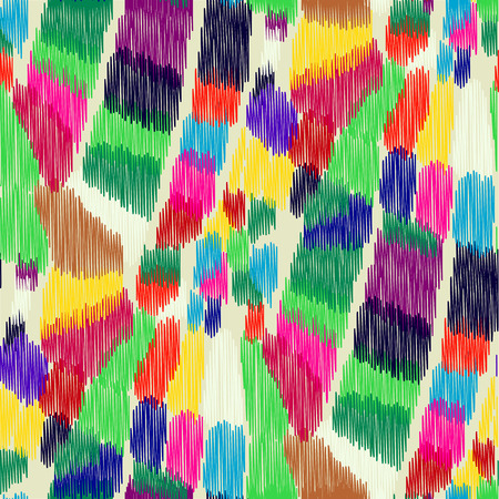 gobelin tapestry: Seamless Ikat Pattern with bright multi-color spots. Abstract  background for textile design, wallpaper, surface textures, wrapping paper.