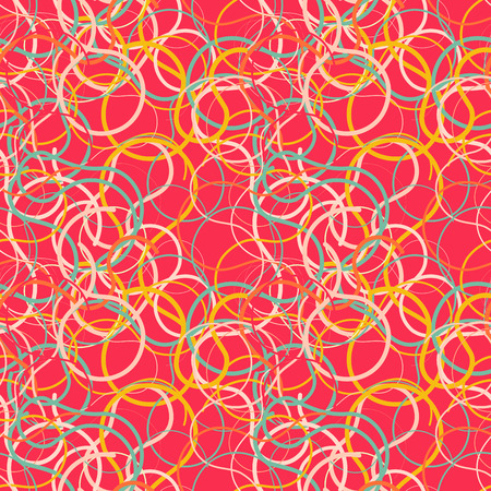 scribbles: Red seamless background with colorful scribbles. Vector illustration.