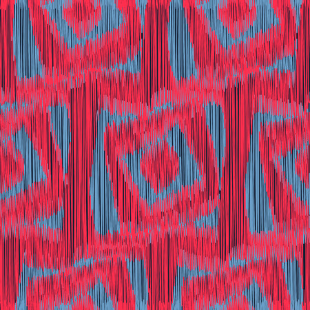 gobelin tapestry: Red and grey seamless Ikat Pattern with a geometrical ornament. Abstract  background for textile design, wallpaper, surface textures, wrapping paper.