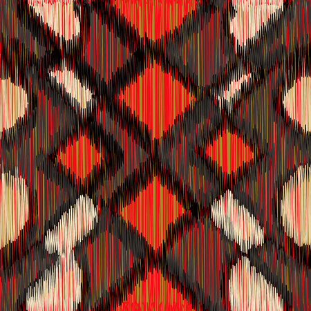 Seamless Ikat Pattern  with a geometrical ornament. Abstract  background for textile design, wallpaper, surface textures, wrapping paper.