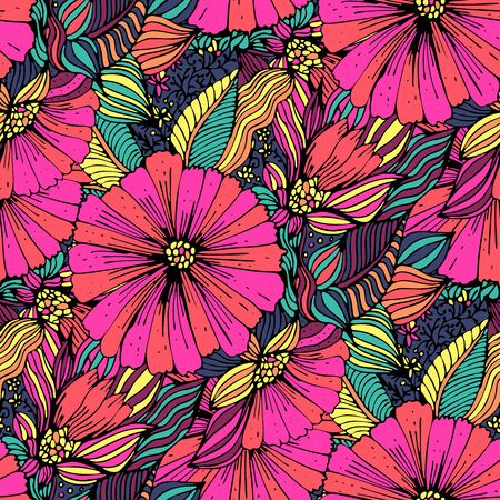 Seamless pattern with red Flowers on a black background. The drawing for light summer fabrics or wrapping paper. Hand-drawn illustration. Vector.