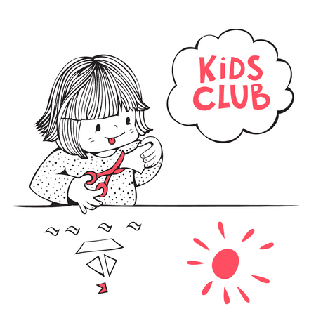 kids club: Illustration on the theme of kids club. Little girl  is cutting  paper with scissors. Hand-drawn illustration. Vector.