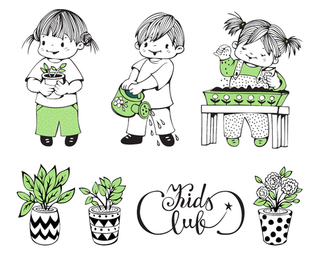 kids club: Illustration on the theme of kids club. Little children caring for plants.