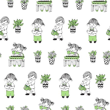 caring for: Seamless pattern.  Little children caring for plants. Hand-drawn illustration. Vector.