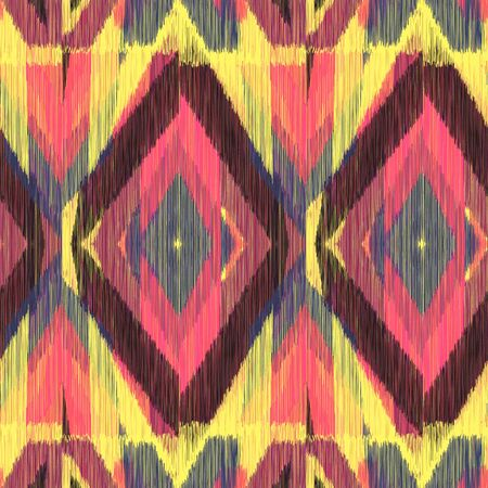 gobelin tapestry: Seamless Ikat Pattern with a bright geometrical ornament. Abstract  background for textile design, wallpaper, surface textures, wrapping paper.