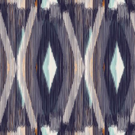 gobelin tapestry: Dark seamless Ikat Pattern  with rhombuses. Abstract  background for textile design, wallpaper, surface textures, wrapping paper. Illustration