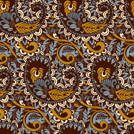 seamless tile: Seamless pattern with  Paisley print in brown tones. Vector illustration