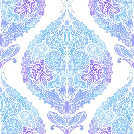 Naadloos patroon met blauwe Paisley-druk. Vector illustratie