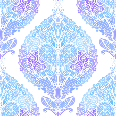 Seamless pattern with blue Paisley print. Vector illustration