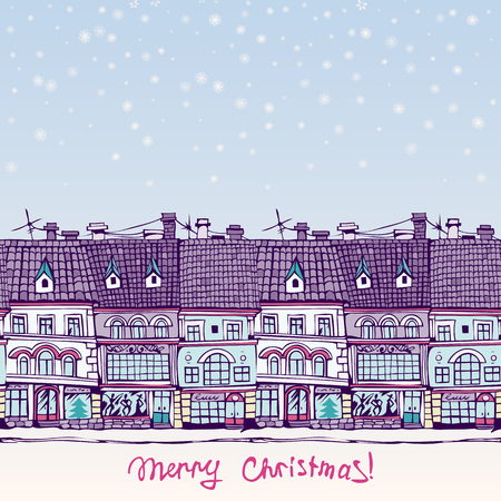 row houses: Christmas card with a seamless row of town houses. Hand-drawn illustration. Vector.