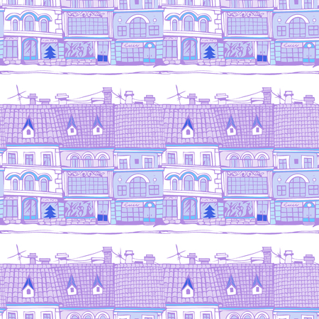 Seamless pattern with city houses. Hand-drawn illustration. Vector.