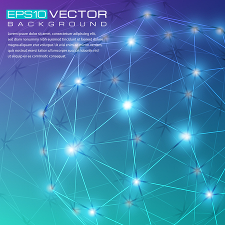 lighting effects: Blue abstract drawing with 3d geometric shapes and lighting effects. The illustration contains transparency and effects. EPS10