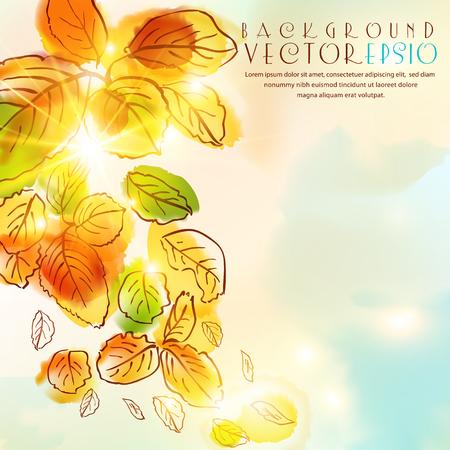 Herbst Aquarell Hintergrund mit Blättern und Sonne. Die Abbildung enthält Transparenz und Effekte. EPS10 Vektorgrafik