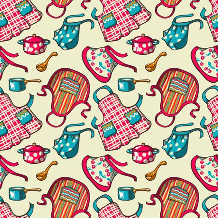 kitchen aprons: Seamless pattern  - kitchen aprons and pans.  Vector illustration.
