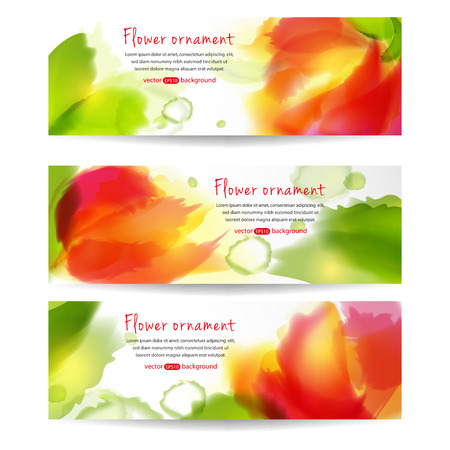 Set of horizontal banners with flowers.  Vector watercolor. The illustration contains transparency and effects.