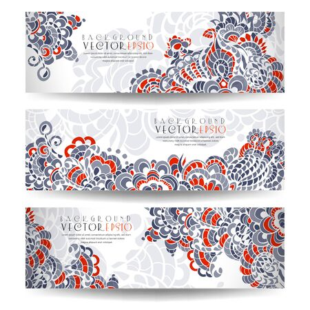 Set of horizontal banners with flowers. The illustration contains transparency and effects.