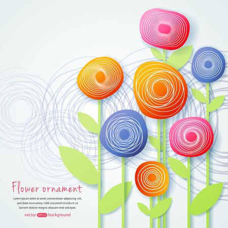 Background with simple paper flowers.  The illustration contains transparency and effects.