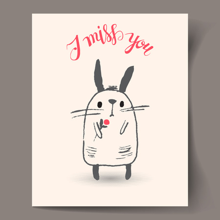 i miss you: Postcard with a white Bunny and hand lettering I miss you Vector illustration Illustration