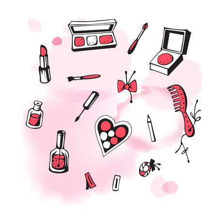 isolated spot: Vector set of cosmetics isolated on the background with watercolor pink spot. Hand-drawn illustration. Vector. Illustration