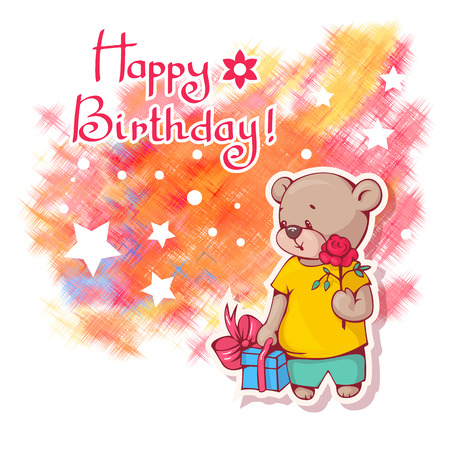 Greeting card Happy Birthday  with Teddy bear and a bright shaded spot in the background.  Vector illustration