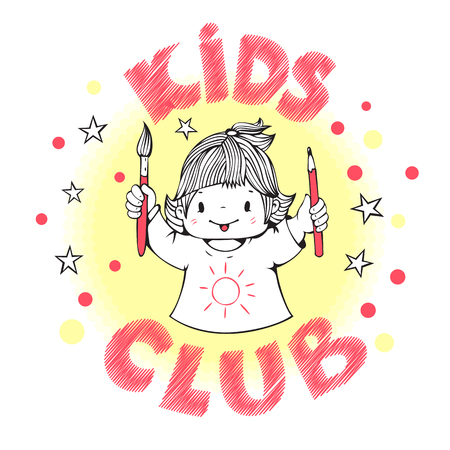 kids club: Illustration on the theme of kids club. Little girl with brush and pencil. Hand-drawn illustration. Vector.